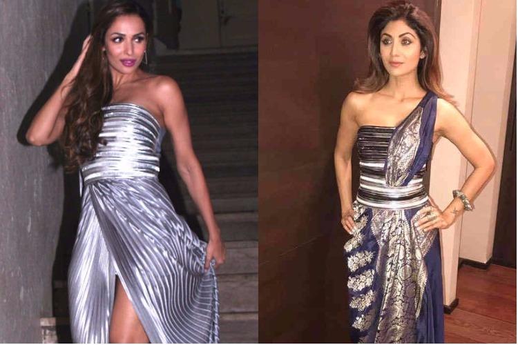 Malaika Arora and Shilpa Shetty in Amit Aggarwal couture