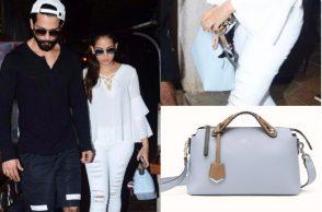 Mira Rajput with husband Shahid Kapoor carrying a Fendi bag