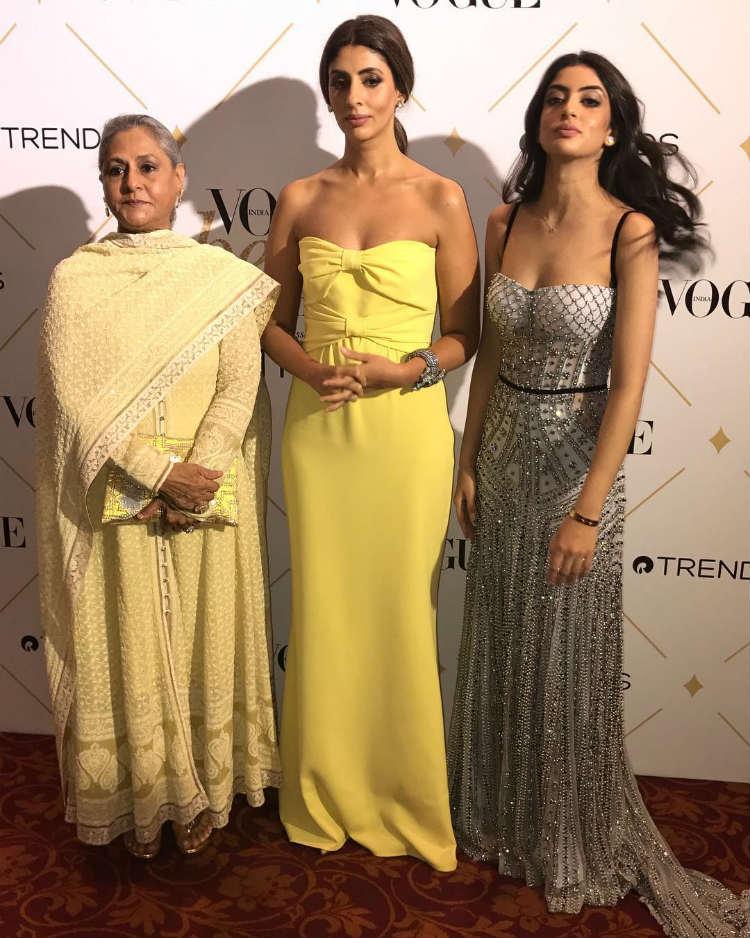 Jaya Bachchan, Shweta Nanda, Navya Naveli at the Vogue Beauty Awards 2017
