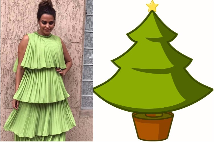 Christmas tree and 5 other things we thought after looking at Neha Dhupia's green outfit