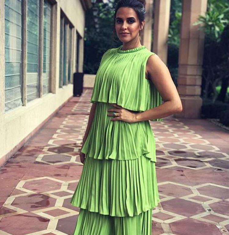 Neha Dhupia in Chandni Sahi outfit