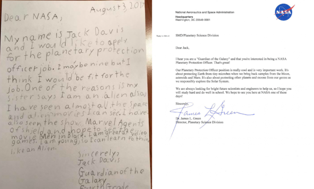 9-year-old 'Guardian of the Galaxy' applies to NASA