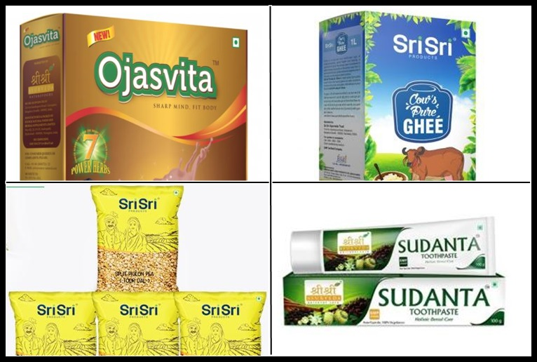 Products from Sri Sri's FMCG company