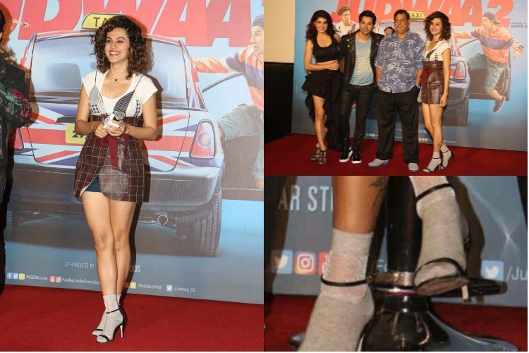 Taapsee Pannu wears 'socks with heels' on Judwaa 2 trailer launch and we are crying