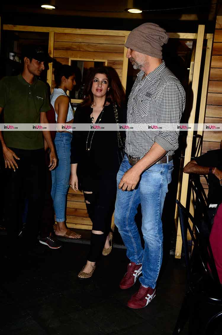 Akshay Kumar and Twinkle Khanna at Bandra on Saturday night