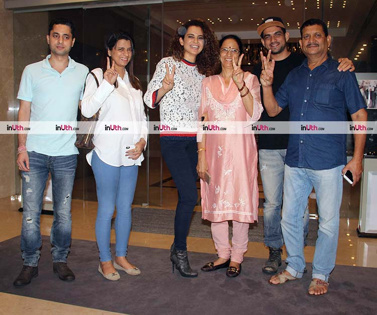 Kangana Ranaut with her family in Mumbai