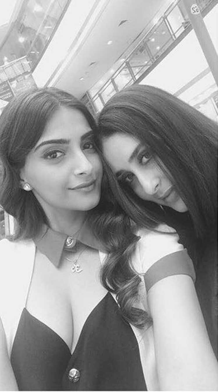 Sonam with Kareena Kapoor on sets of Veere Di Wedding
