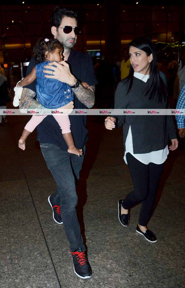 Sunny Leone spotted with husband and daughter