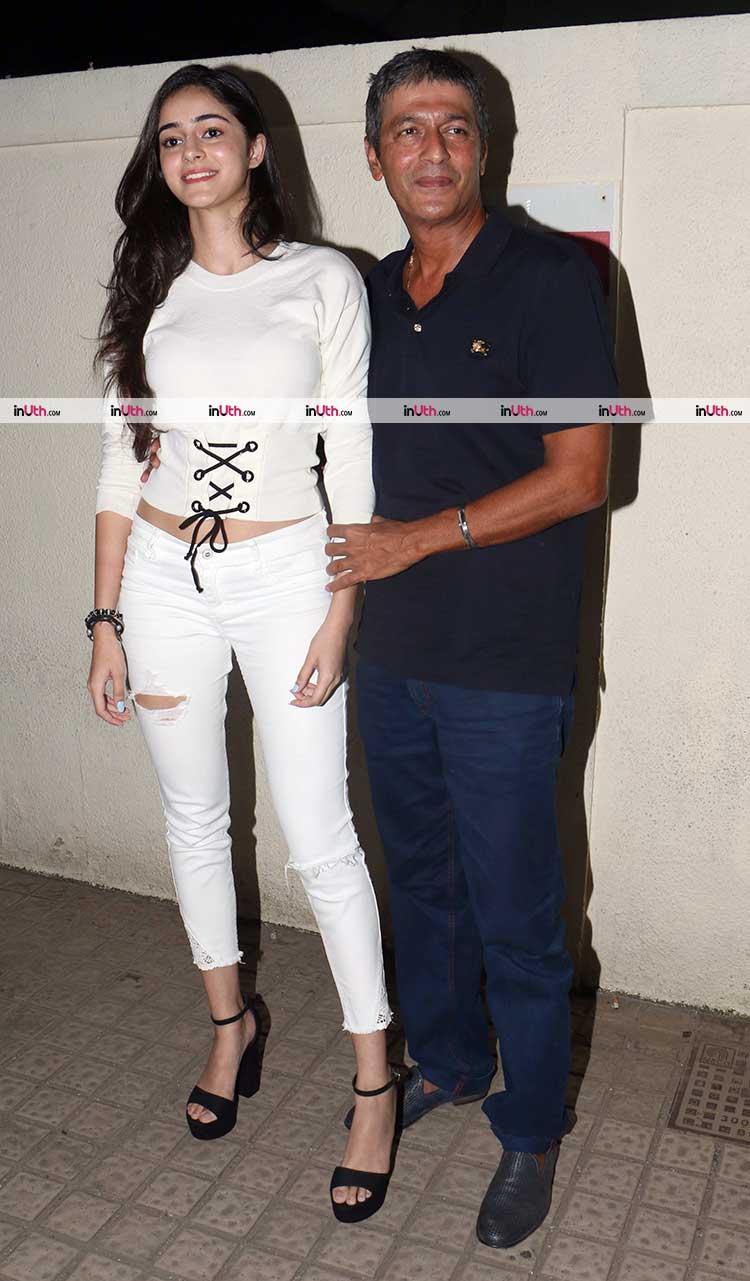 Ananya Pandey with father Chunky Pandey at judwaa 2 screening