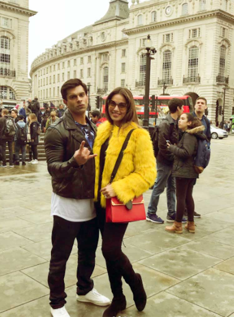 Karan Singh Grover and Bipasha Basu on the sets of Firrkie in London
