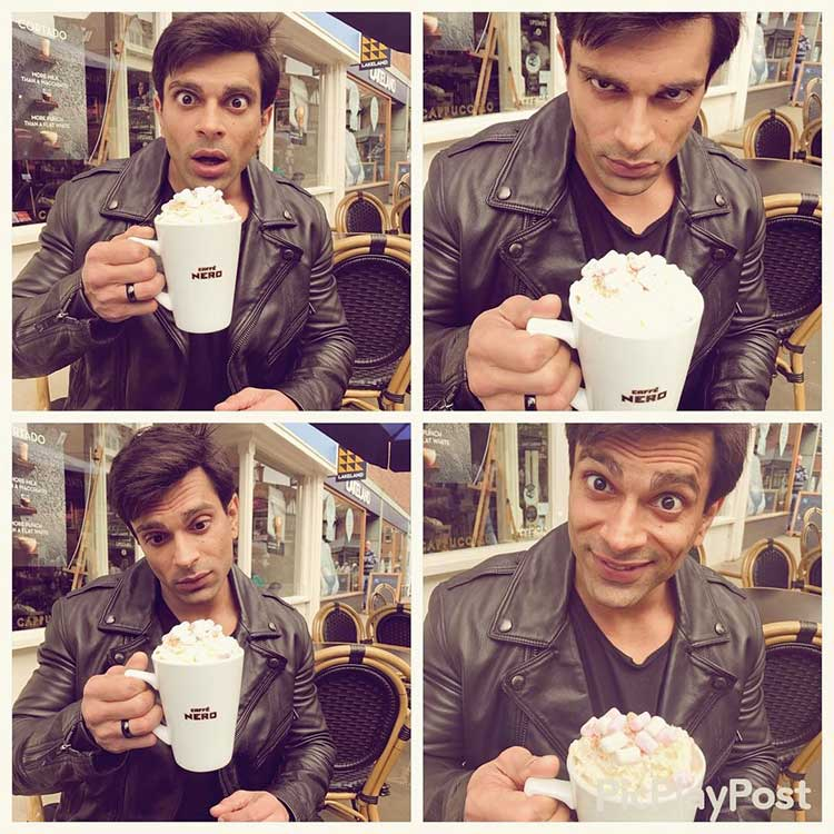 Karan Singh Grover romancing with his cup of hot chocolate