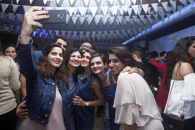 Shweta Rohira poses for a selfie with friends