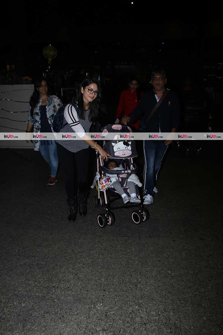 Sunny Leone and daughter Nisha Kaur Weber snapped at the airport before vacation