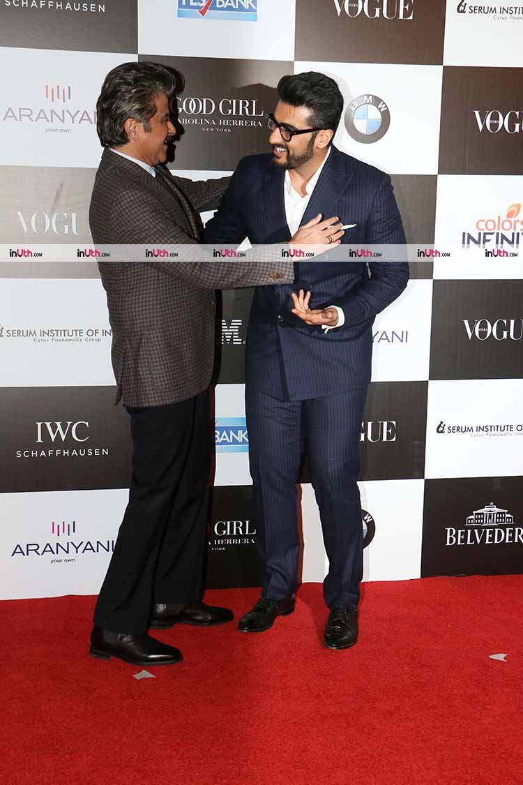 Anil and Arjun Kapoor share a laugh on the Vogue red carpet