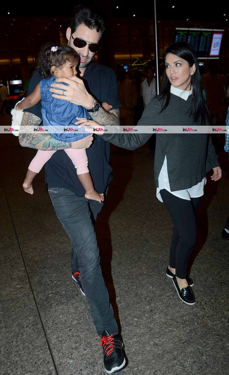 Sunny Leone spotted with her daughter Nisha