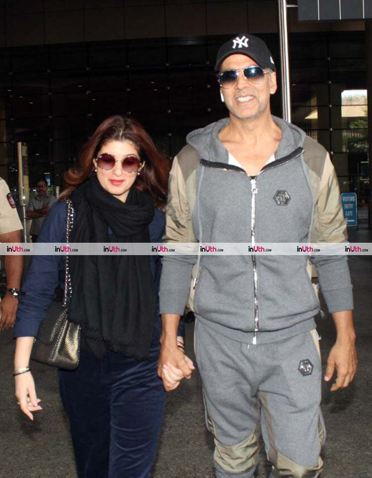 Twinkle Khanna and Akshay Kumar snapped exiting the Mumbai airport