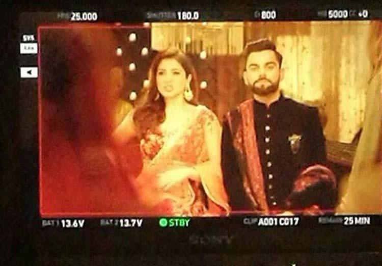 Virat Kohli and Anushka Sharma on the sets of an ad film