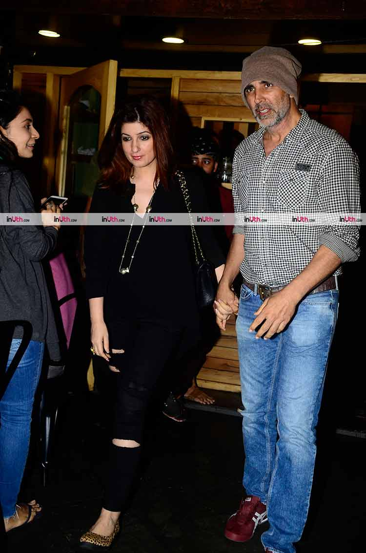 Akshay Kumar and Twinkle Khanna snapped in Bandra on Saturday night