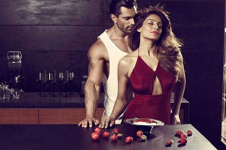 Bipasha Basu and Karan Singh Grover pose together for a condom brand