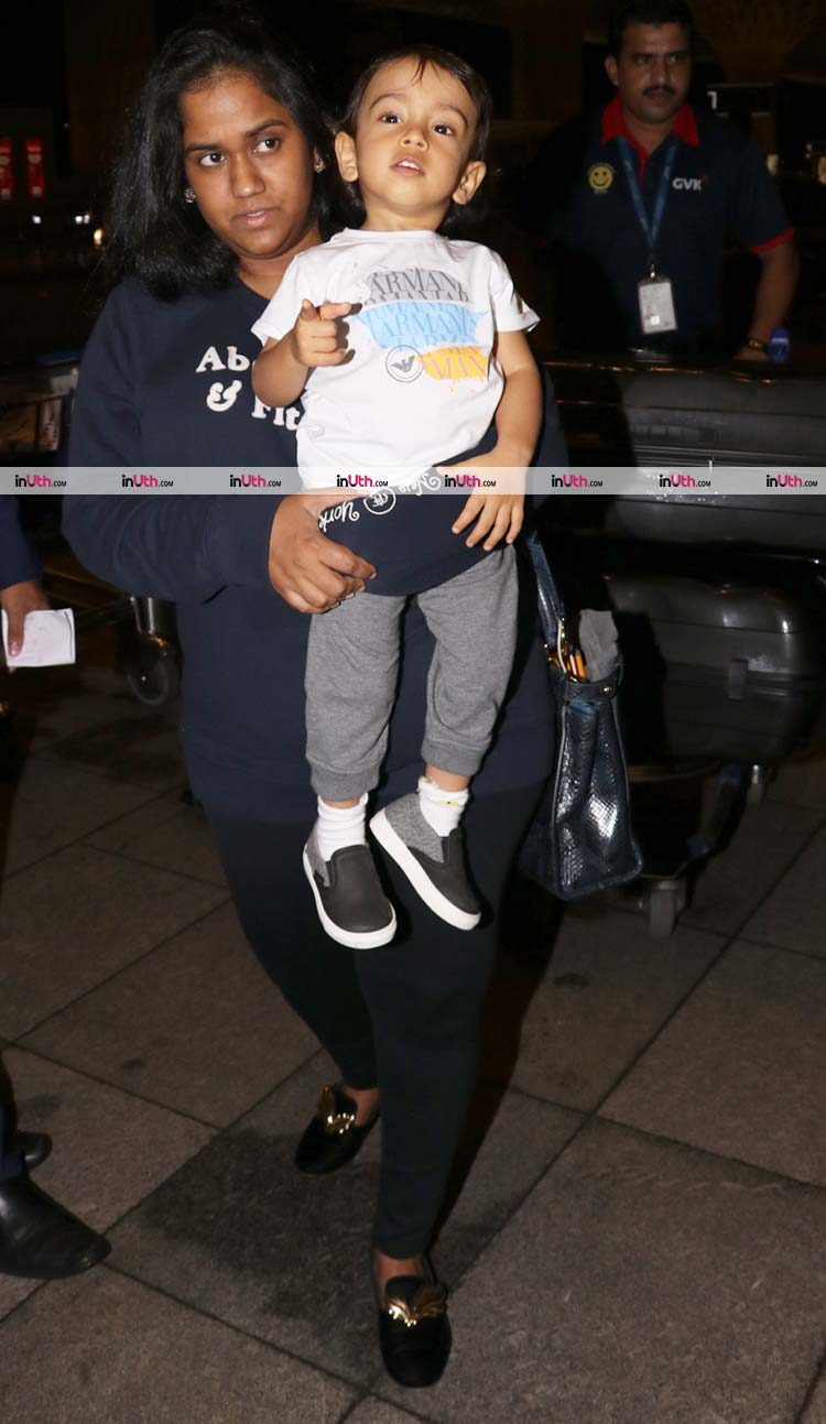 Cute Ahil with mother Arpita Khan at the airport