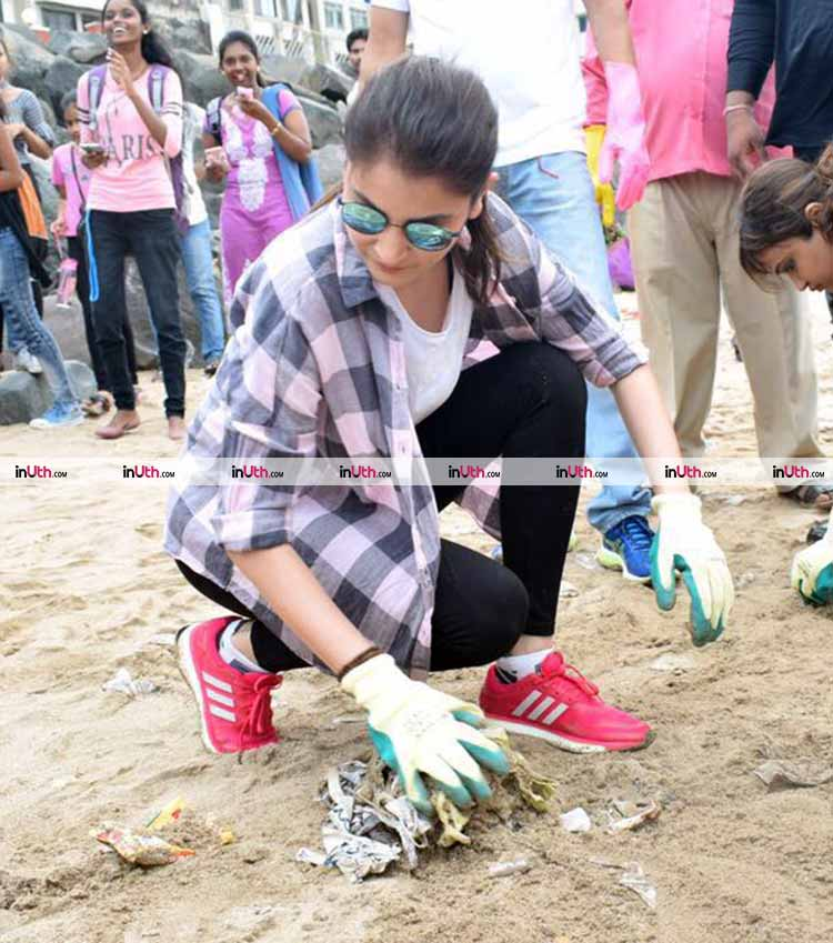 Anushka Sharma promoting the cleanliness drive