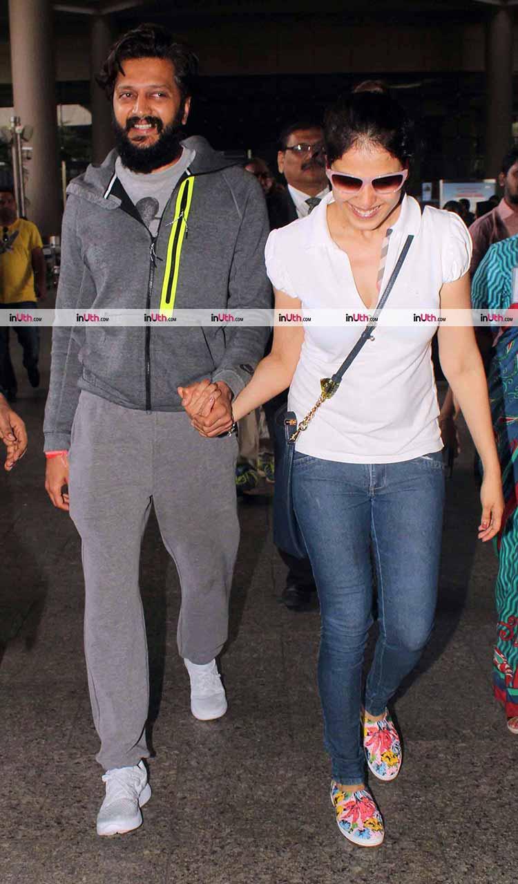 Riteish Deshmukh and Genelia D'Souza spotted at Mumbai airport