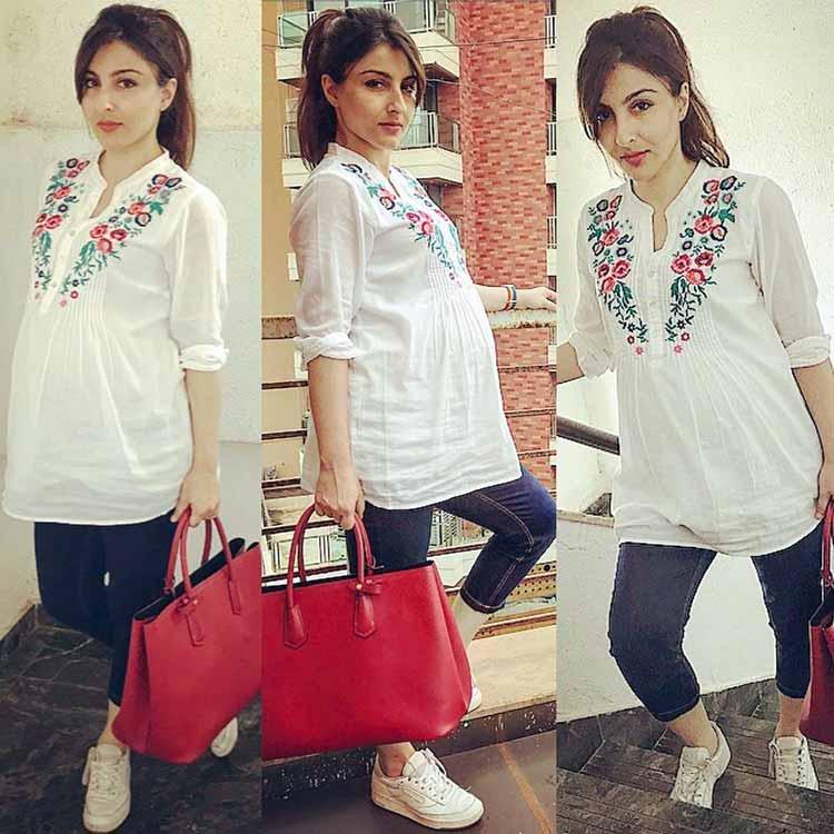 Soha Ali Khan kept it basic for her pregnancy style