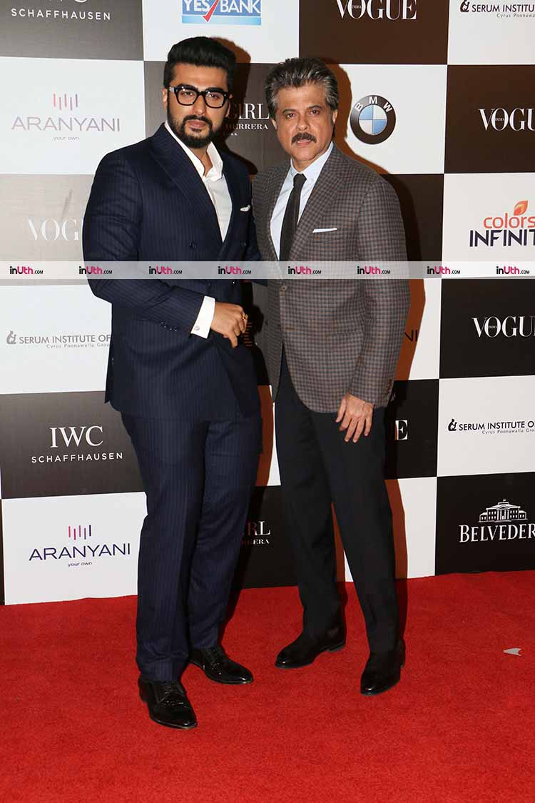 Arjun Kapoor with Anil Kapoor at Vogue Women of the Year Awards 2017
