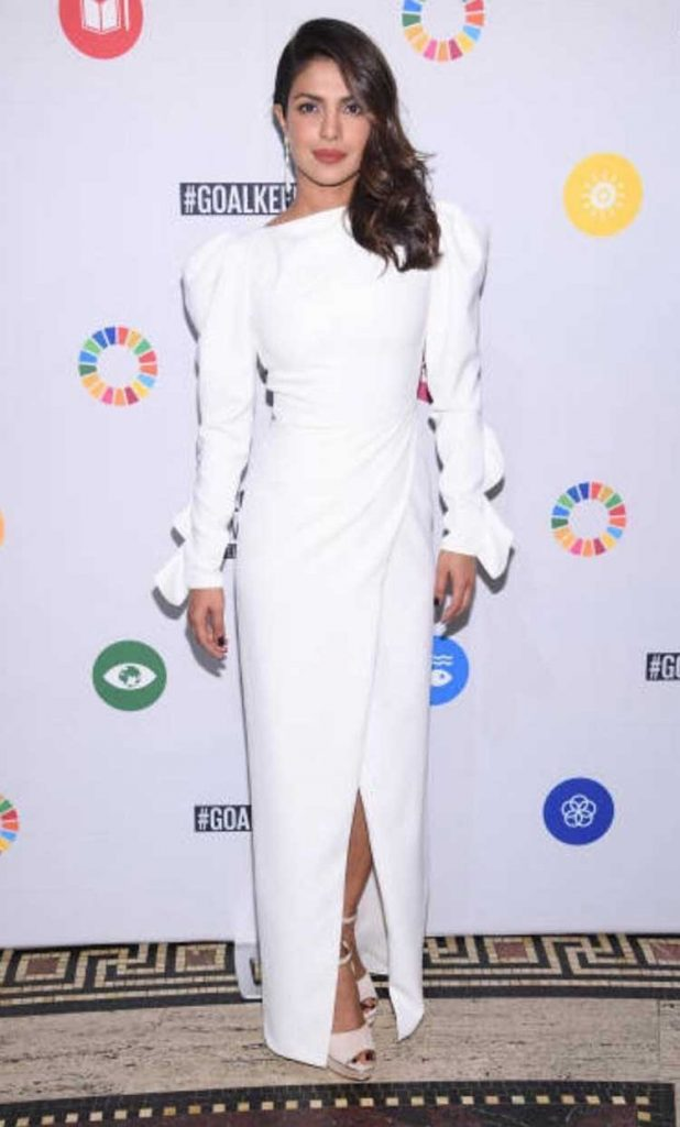 Priyanka Chopra in a Christian Siriano gown at the UN Global Goals Awards
