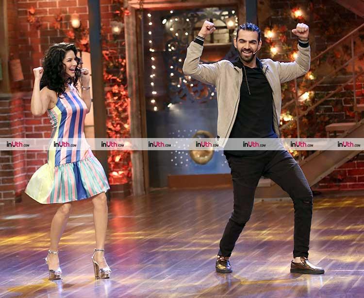 Sunny Leone dancing with The Drama Company host Karan V Grover