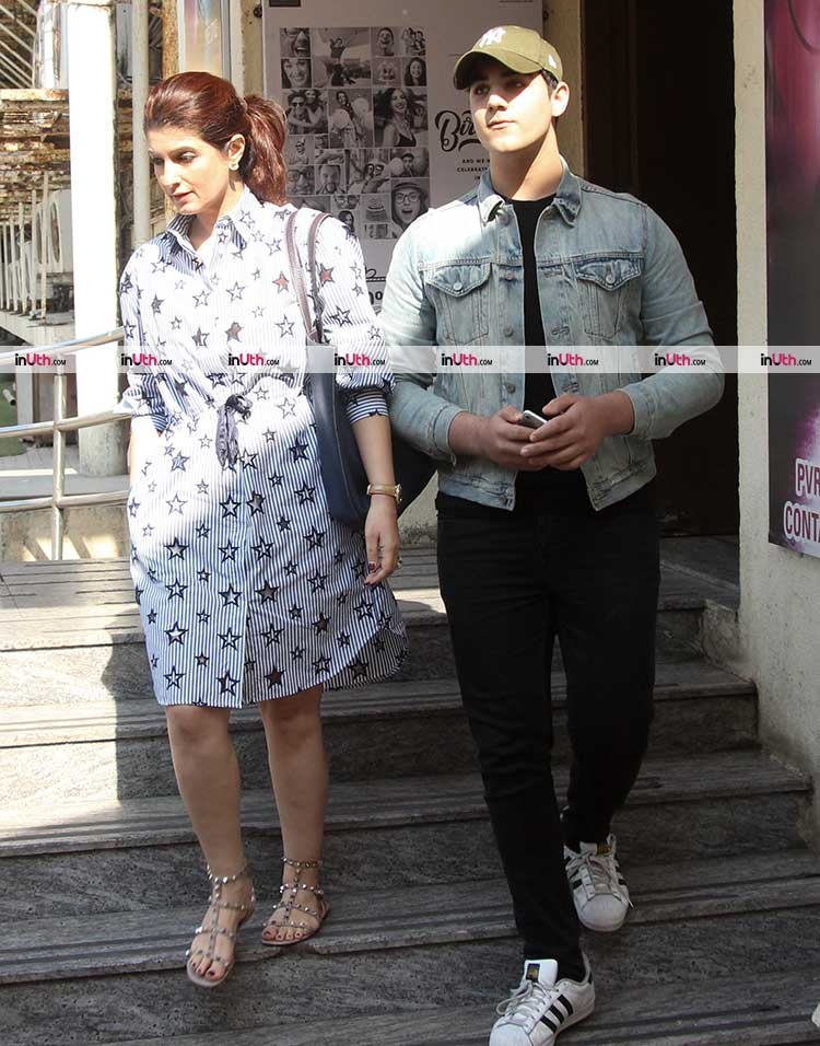 Twinkle Khanna and Aarav spotted in the city