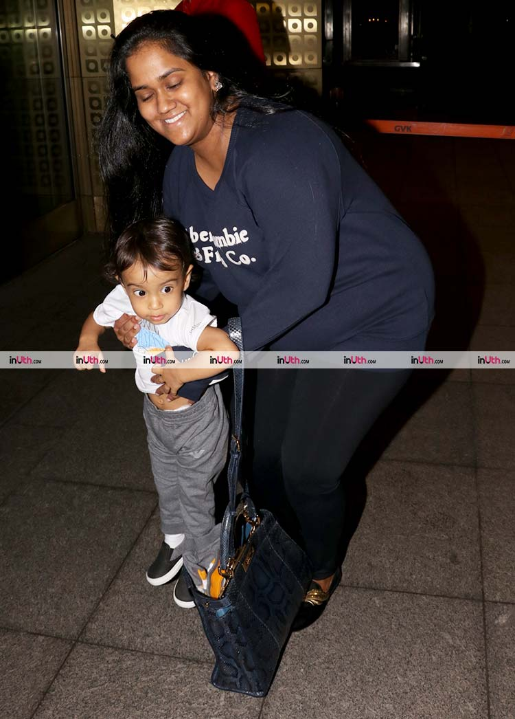 Little Ahil spotted on the airport with his mother Arpita Khan