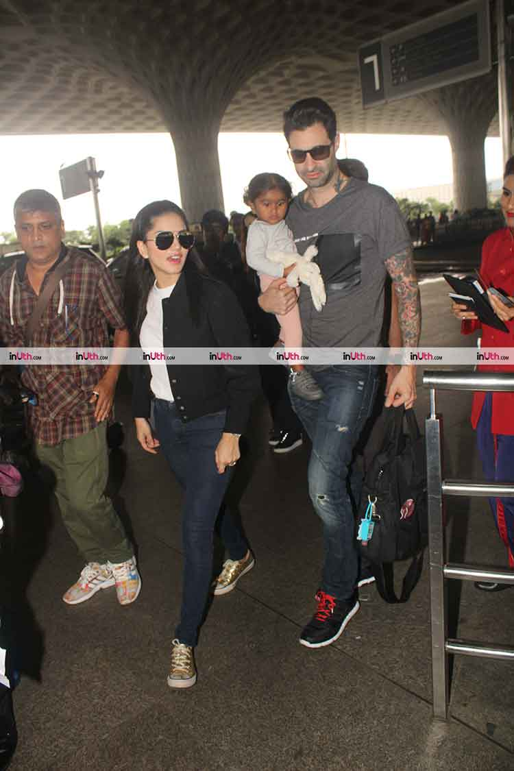 Sunny Leone and Nisha with Daniel Weber at the airport