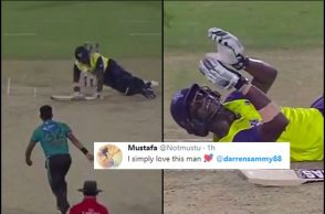 Darren Sammy, Pakistan vs World XI, Darren Sammy falls on ground, World XI vs Pakistan, Twitter reactions, Hasan Ali yorker, Pakistan vs World XI 1st T20I