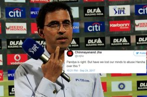 Harsha Bhogle abused, India vs Australia 2017, India vs Australia 3rd ODI, Indore ODI, Hardik Pandya, Hardik Pandya Twitter reaction