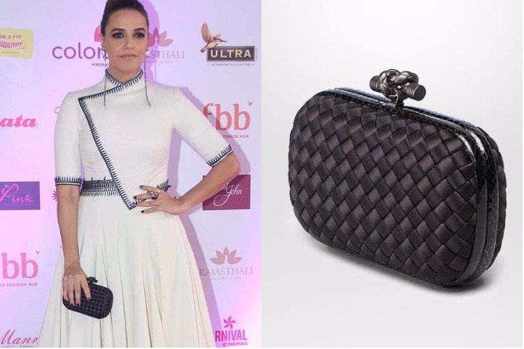Neha Dhupia carrying Bottega Veneta clutch