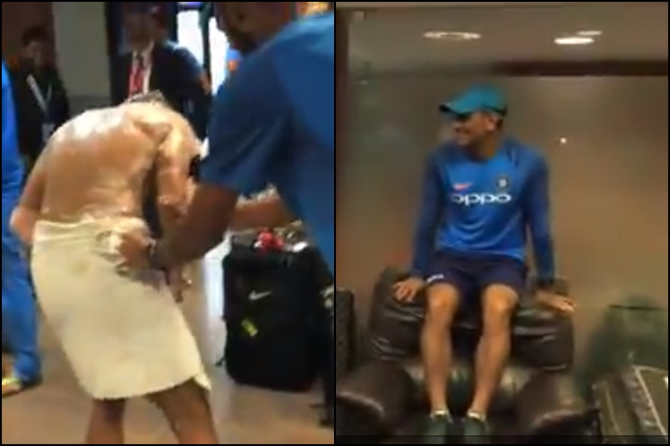 MS Dhoni climbs on sofa chair as Manish Pandey gets decorated with his birthday cake | WatchVideo