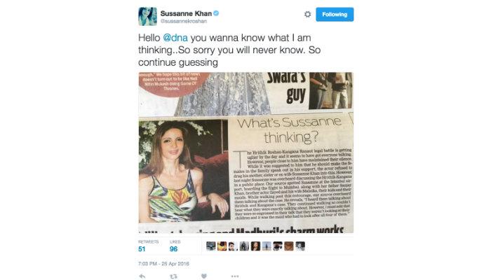 Sussanne Khan, tweet, Hrithik Roshan, Kangana Ranaut
