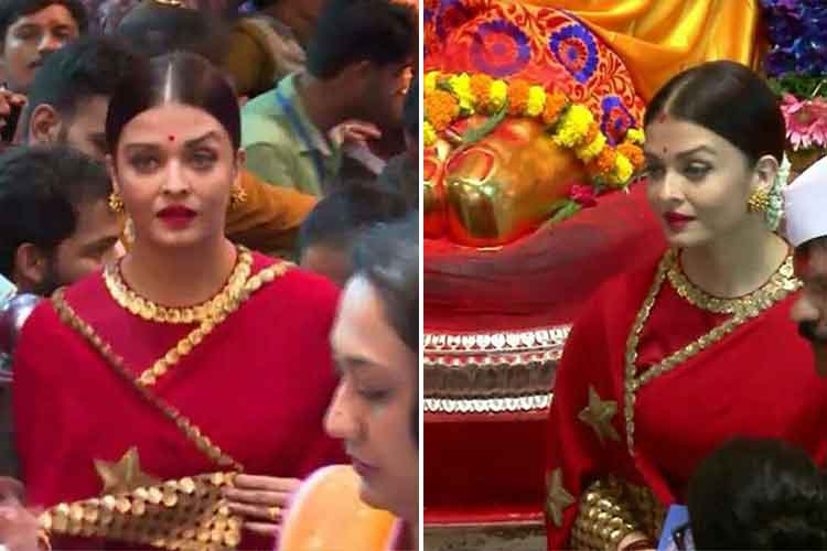 Aishwarya Rai Bachchan looks ravishing in a red saree but Instagrammers are confused with her raised eyebrow!