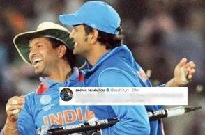 MS Dhoni Twitter reactions, MS Dhoni, MS Dhoni vs Australia, Sachin Tendulkar, Sachin Tendulkar Twitter, India vs Australia first ODI Chennai ODI, MS Dhoni 79 vs AUS