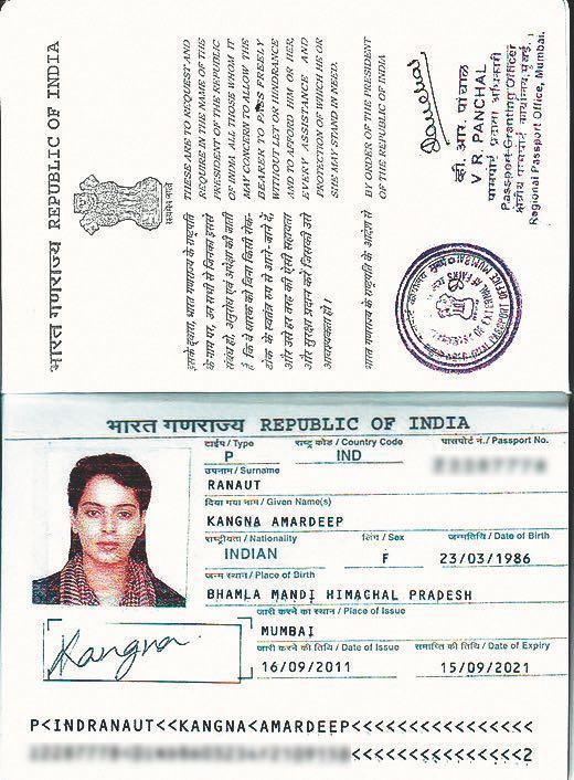 Kangana Ranaut Passport