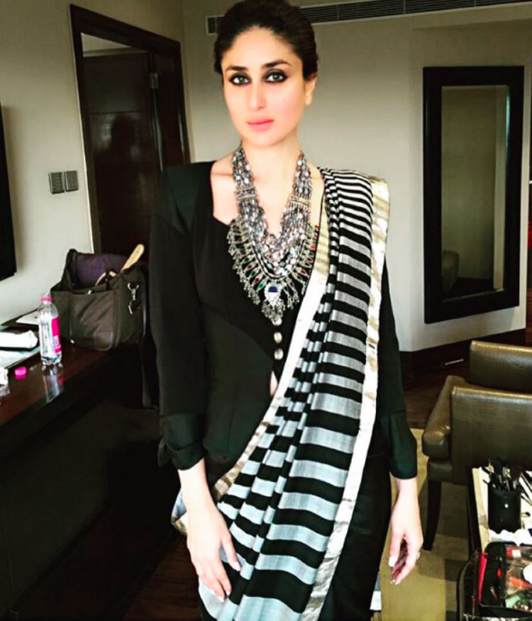 Kareena Kapoor in a saree and jacket at an event