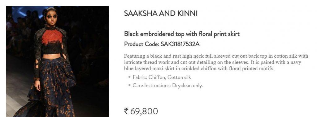 Saaksha and Kinni black embroidered top with floral print skirt