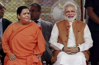 File photo of Prime Minister Narendra Modi with Union Minister Uma Bharti (Photo: PTI)