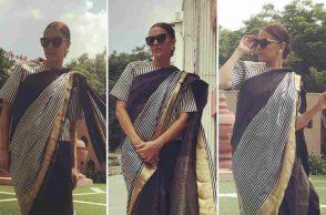 Neha Dhupia in a monochrome striped saree from Raw Mango