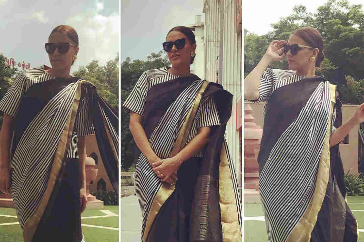 Neha Dhupia in monochrome stripped saree = a Zebra!!! Read this to believe it