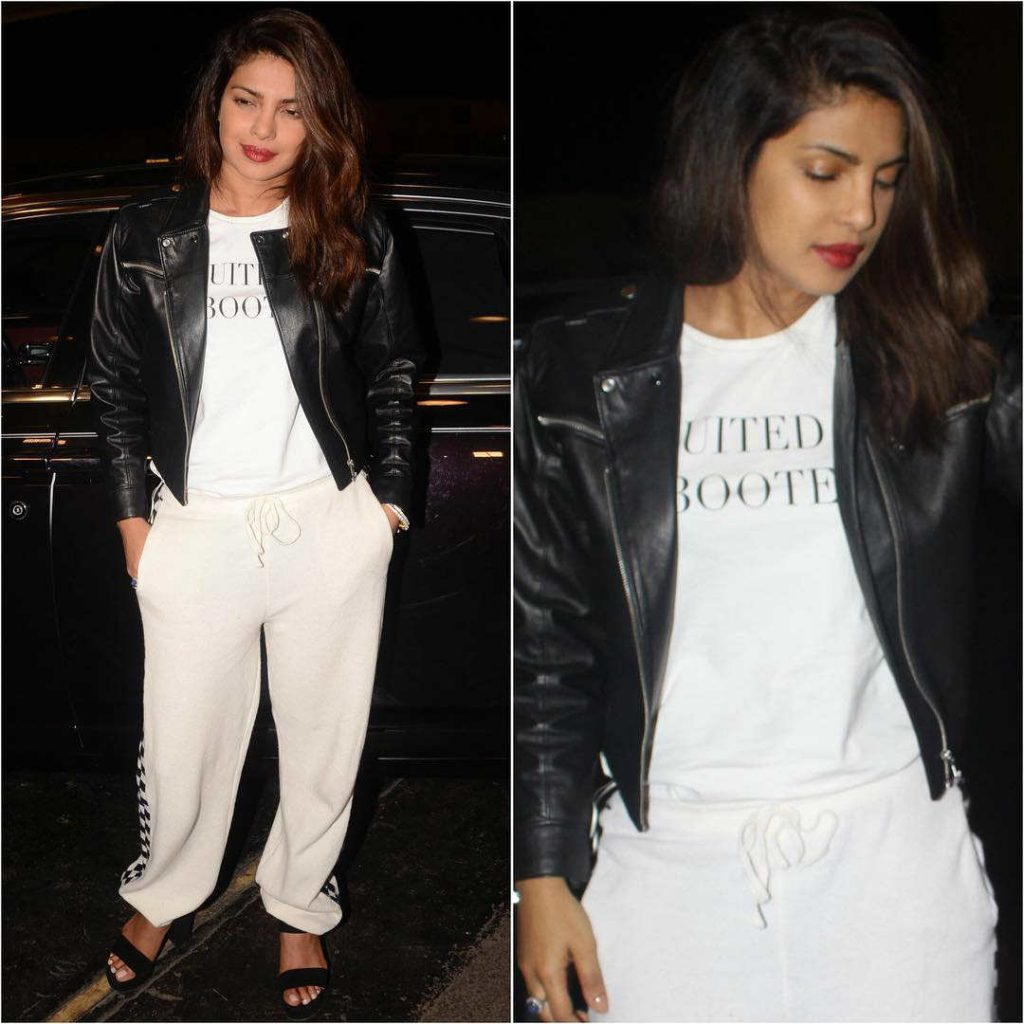 Priyanka Chopra in a Stella McCartney Black and White Check Pants
