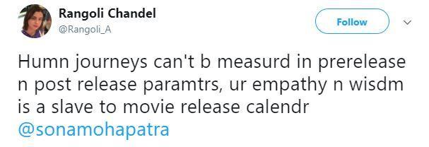 Rangoli's tweet
