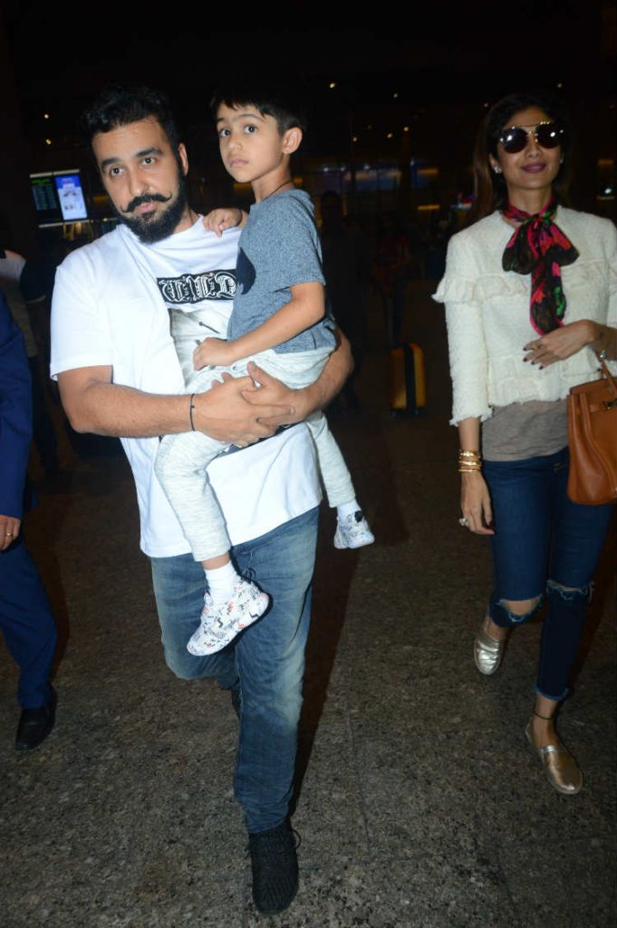 Shilpa Shetty with husband Raj Kundra and son Viaan