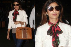 Shilpa Shetty in a Louis Vuitton scarf